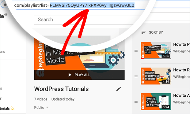 copy playlist ID to be embedded on wordpress