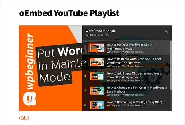 Youtube playlist in WordPress with oEmbed