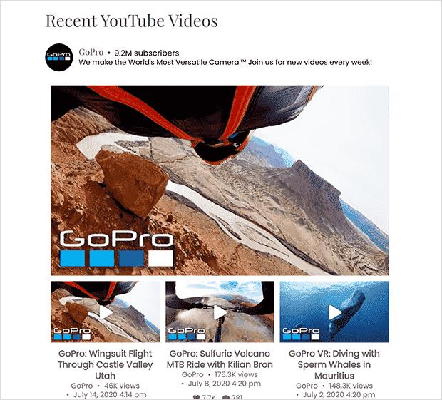 Live YouTube widget on your website