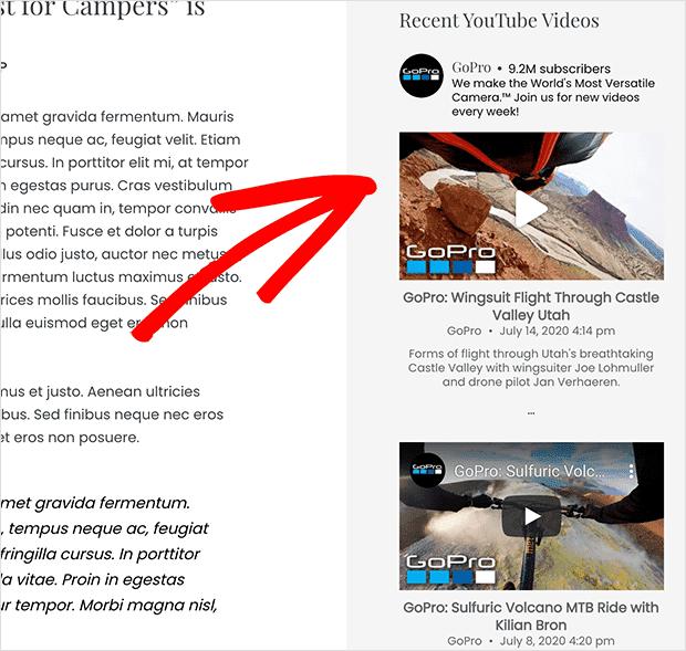 Live youtube widget added to WordPress sidebar with a plugin