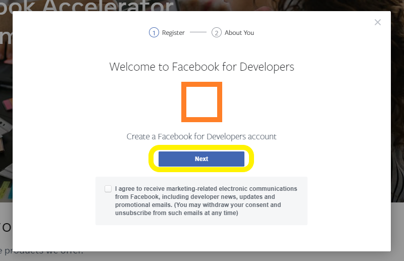 Click Next in the Welcome to Facebook for Developers popup