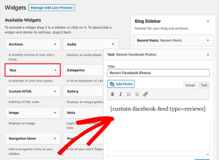custom facebook feed pro sidebar