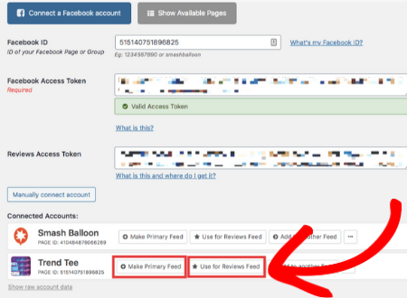 add facebook page to review feed