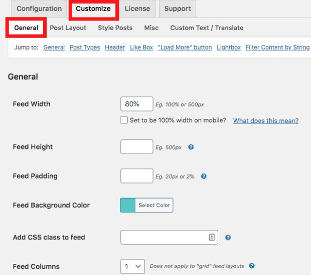 customize facebook feed widget wordpress