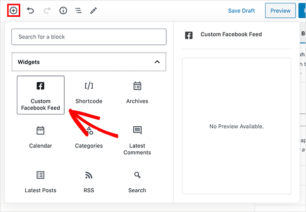 facebook feed widget for wordpress editor