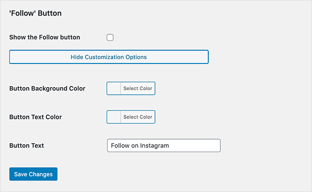 instagram slideshow plugin follow settings