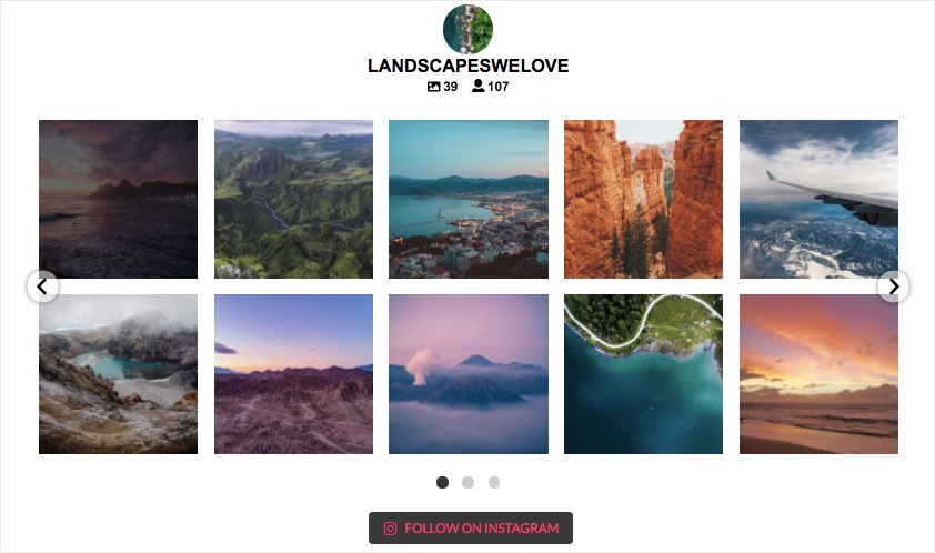 instagram slideshow example on website
