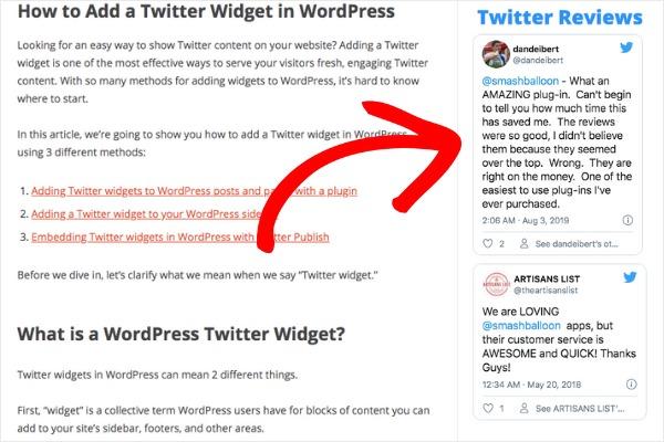 twitter widget on sidebar