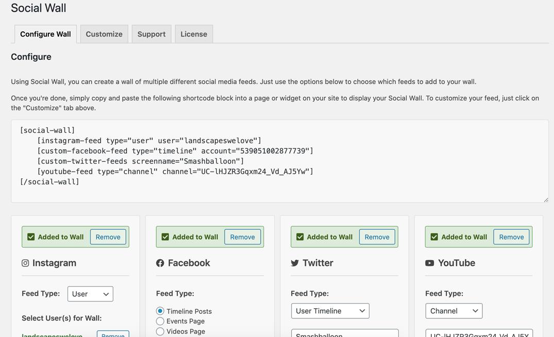 Social Wall shortcode generator