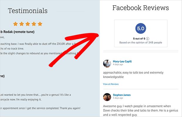 facebook review widget on sidebar