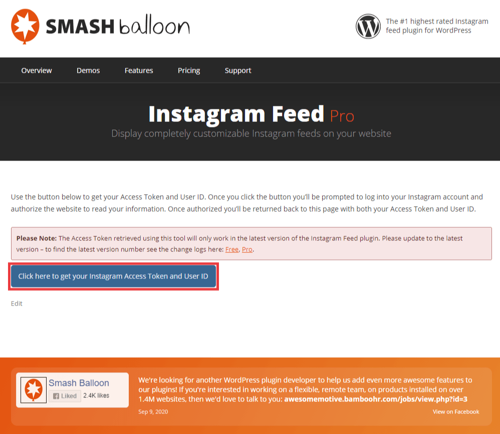 Smash Balloon website with a blue button, Click here to get your Instagram Access Token and User ID