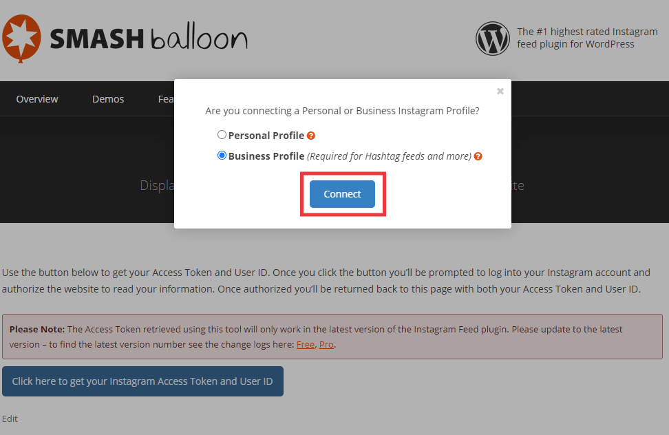 Smash balloon website popup, choose Personal Profile or Business Profile then click Connect.