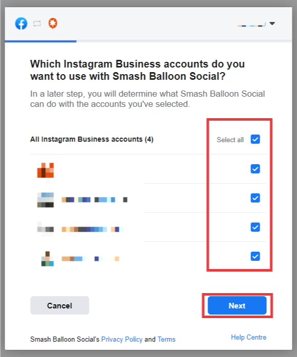 Facebook pupup. Select all Instagram Business accounts, then click next