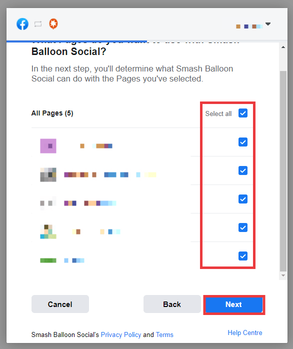 Facebook popup, select All Pages then click Next.