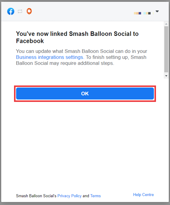 Facebook popup confirming connection to Smash Balloon. Click OK.