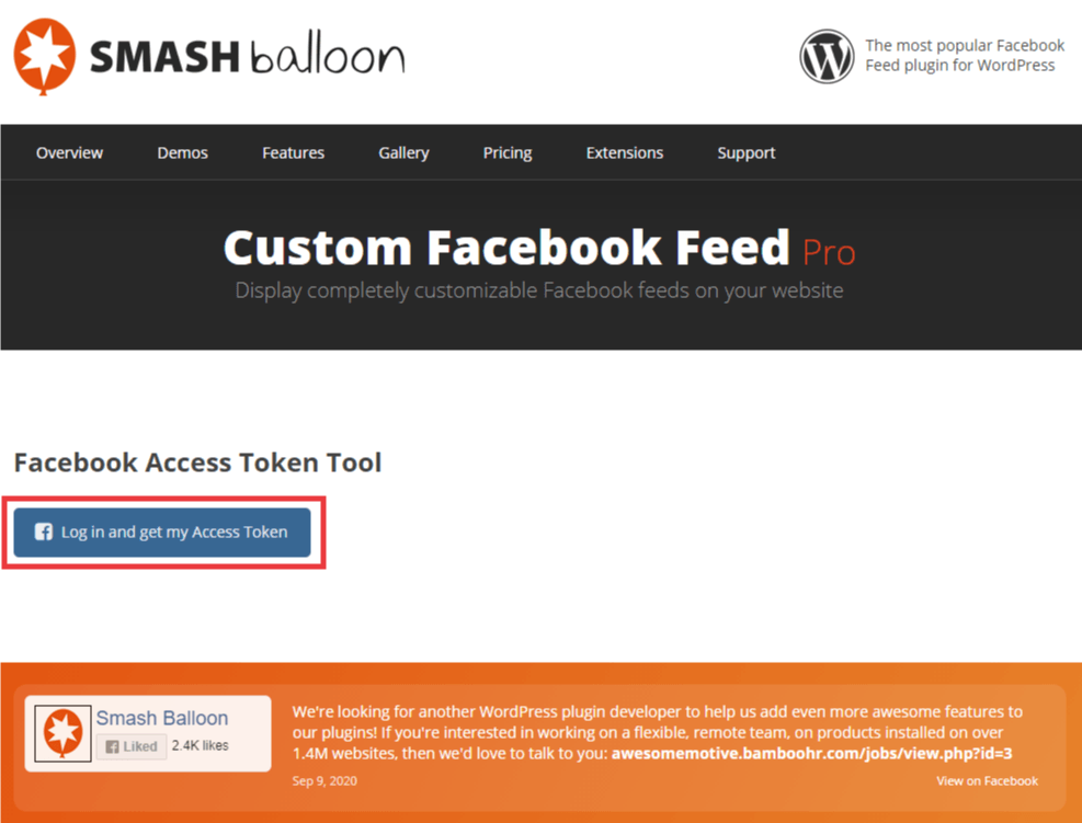 Image of the Smash Balloon Website, Facebook Access Token tool page. Blue button with Log in and get my Access Token text.