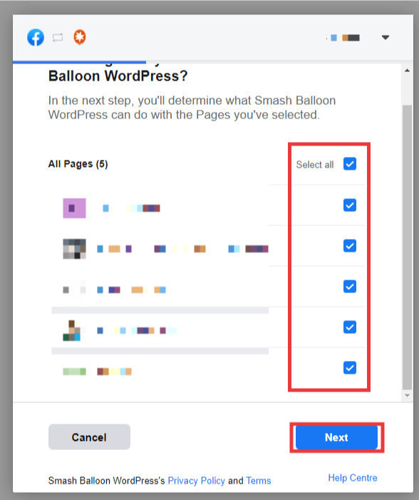 Facebook popup, choose which pages to connect to Smash Ballon. Select all, then next.