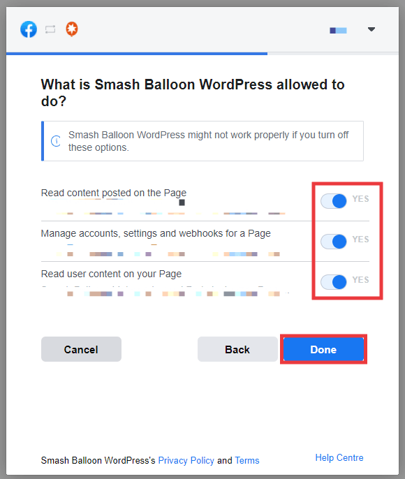 Facebook popup. Select which permissions to give to Smash Balloon. Ensure all are selected, then click done.