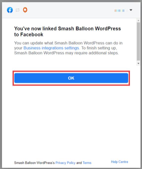 Facebook popup confirming connection to Smash Balloon. Click OK.