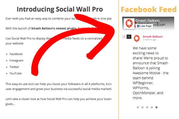 example of facebook feed slider on website