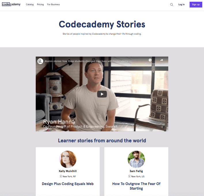 codecademy testimonial page example