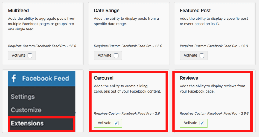 activate extensions to display testimonial carousel on wordpress