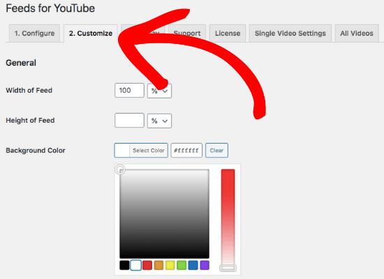 customize video testimonials feed