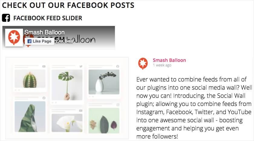 facebook feed slider text header
