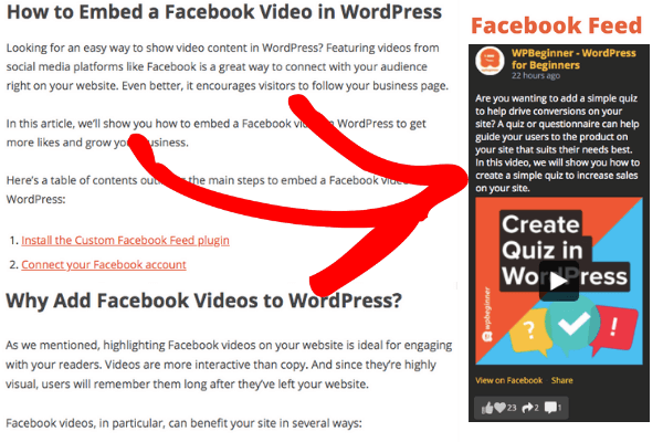 facebook feed on widget for seo