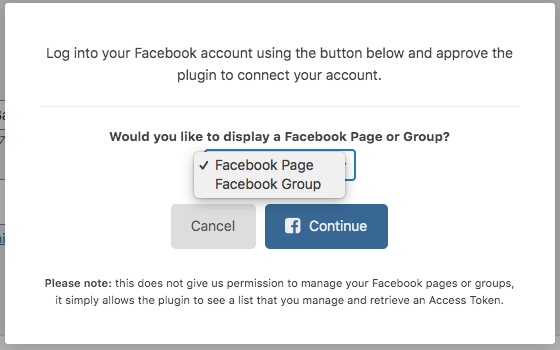 choose between facebook page or group