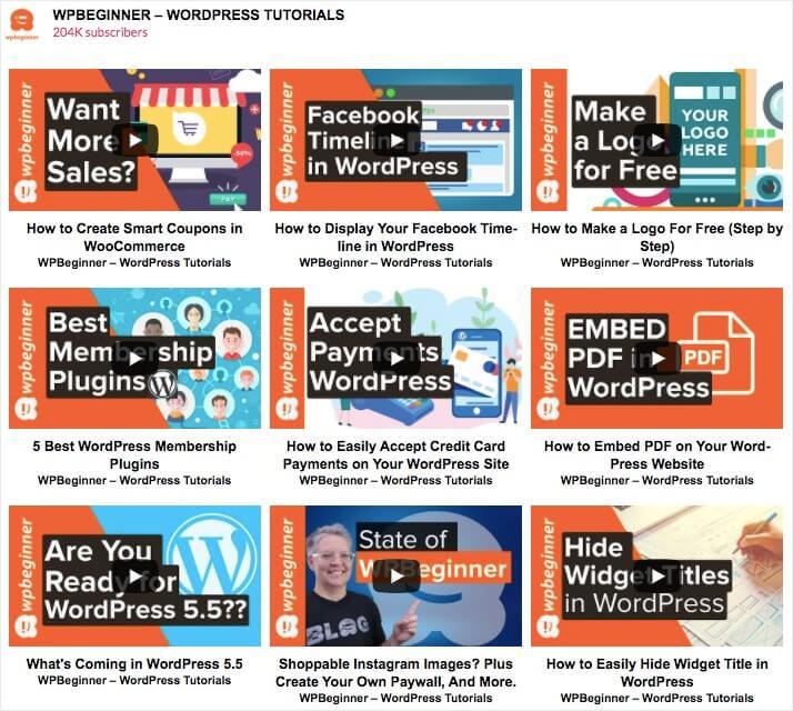 youtube feed grid layout