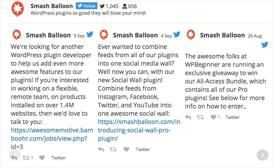 horizontal twitter feed example