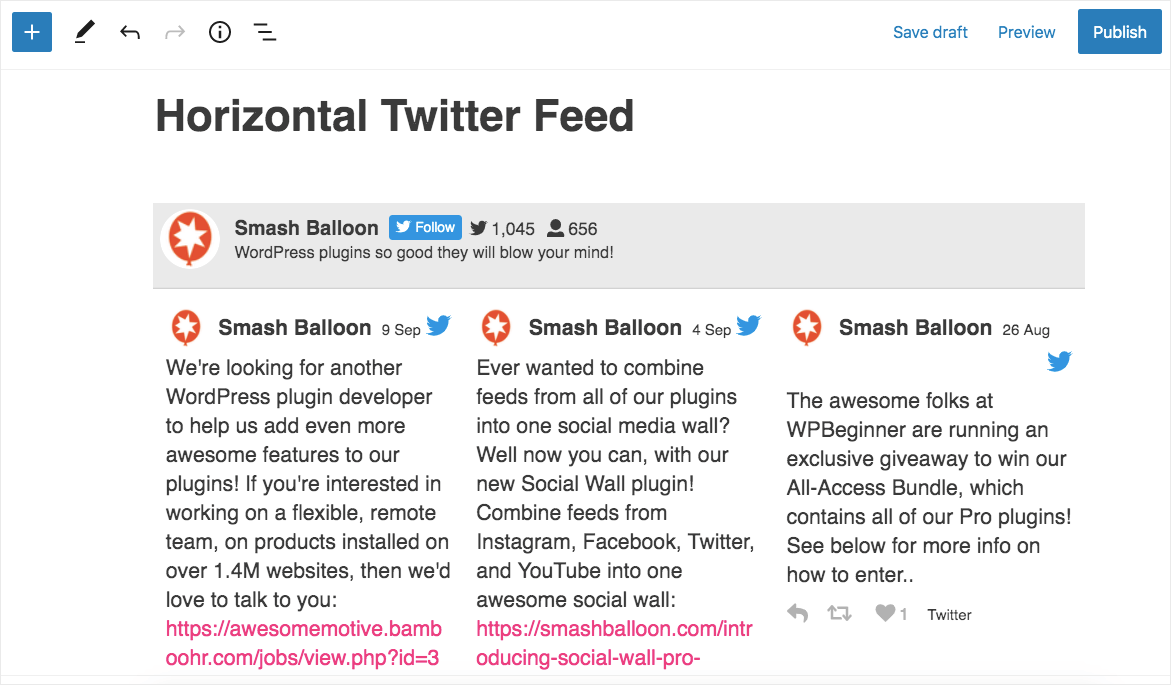 horizontal twitter feed wordpress example in block editor