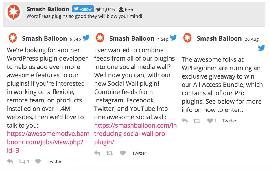smash balloon horizontal twitter feed example