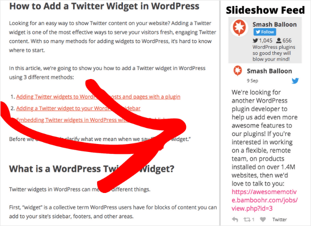 horizontal scrolling twitter feed widget example sidebar