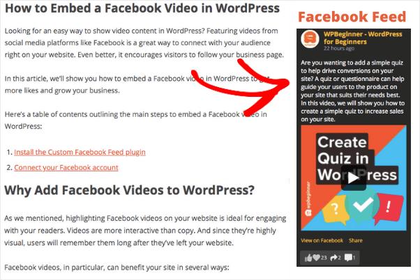 facebook posts to wordpress sidebar example