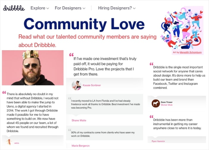 dribbble testimonial page example