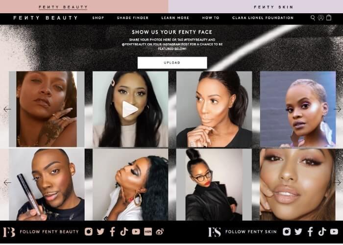 fenty beauty testimonial page example