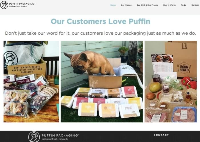 puffin packaging testimonial page example