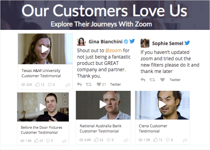 zoom testimonial page example using social wall pro