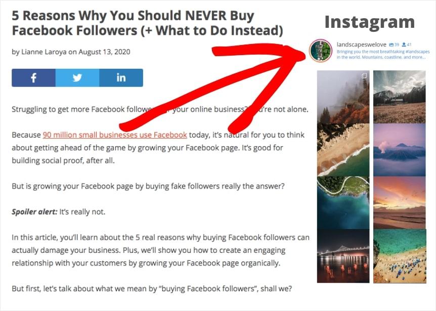 display instagram slideshow widget to wordpress
