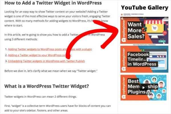 youtube gallery in wordpress example in sidebar