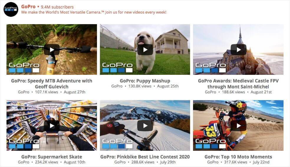 youtube gallery in wordpress example
