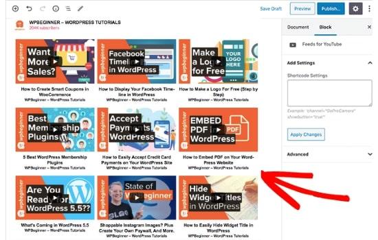 youtube gallery in wordpress example editor