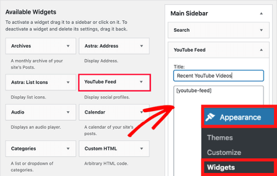 embed responsive youtube video wordpress widget