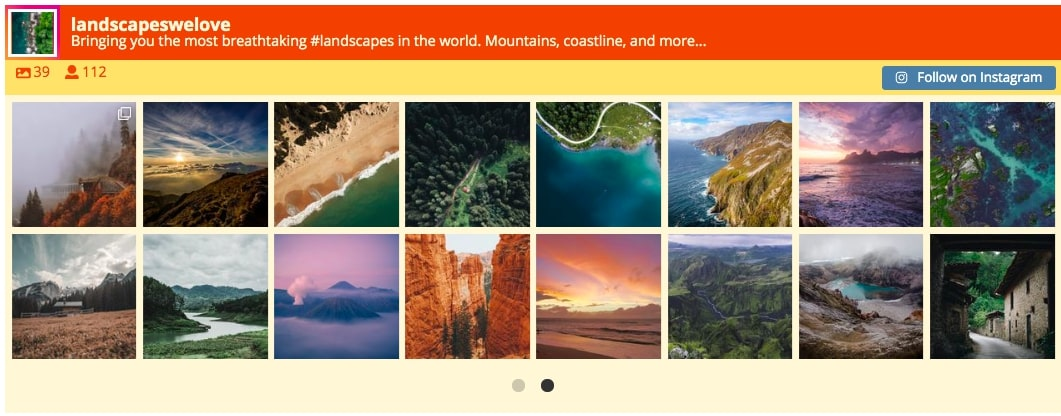 import instagram to wordpress carousel layout