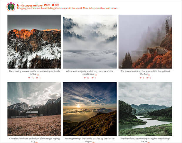 import instagram to wordpress grid layout