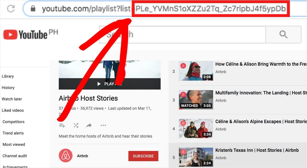 get playlist ID for your video testimonials
