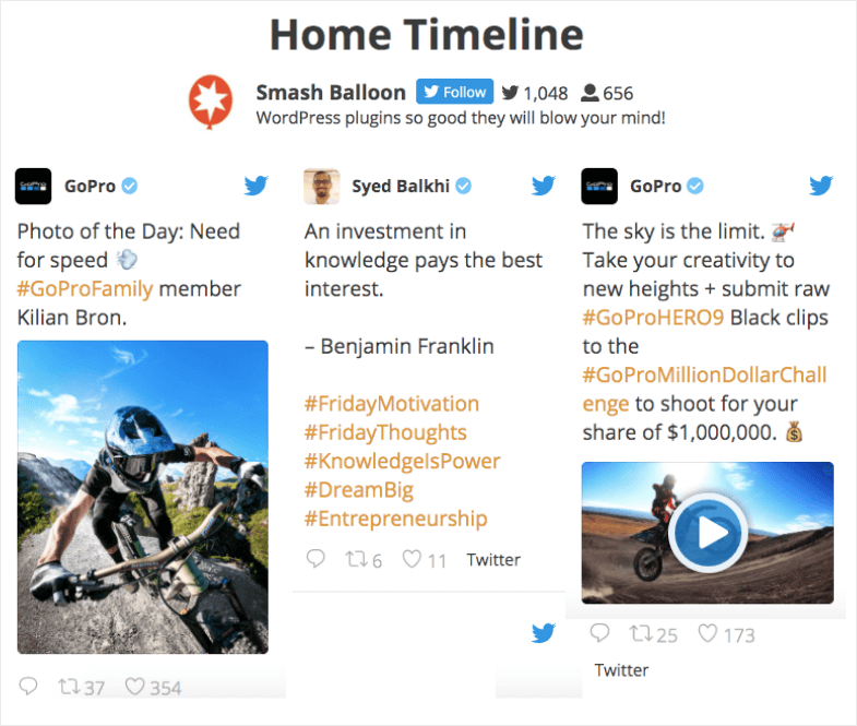 twitter widget example home timeline