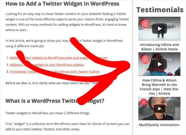 video testimonials feed on website sidebar